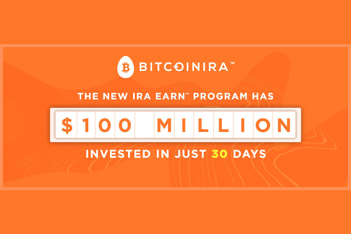 bitcoin-ira:-clients-invested-over-$100-million-dollars-into-interest-earning-program-in-just-30-days
